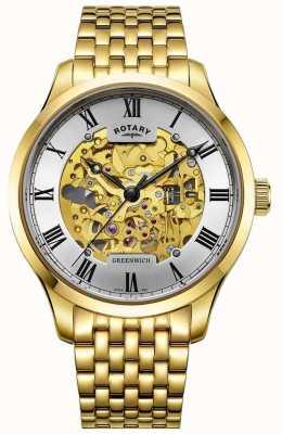 Rotary Relógio de esqueleto Mens greenwich automático banhado a ouro GB02941/03