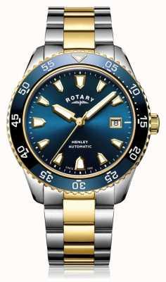 Rotary Relógio masculino com pulseira automática de dois tons e azul GB05131/05