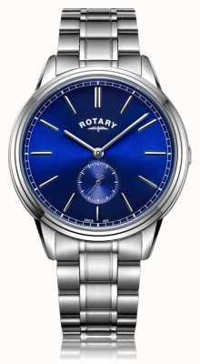 Rotary Mens windsor deslocado relógio de pulseira de aço inoxidável GB05360/05