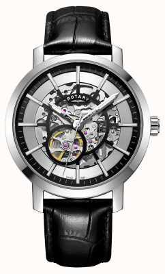 Rotary Mens greenwich pulseira de couro preto esqueleto relógio GS05350/02