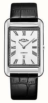 Rotary Mens cambridge data quadrado pulseira de couro preto assistir GS05280/01