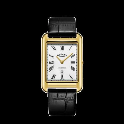 Rotary Mens cambridge data ouro relógio quadrado pulseira de couro preto GS05283/01