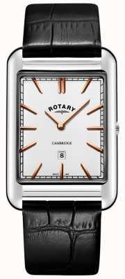 Rotary Mens cambridge data pulseira de couro quadrado preto GS05280/02