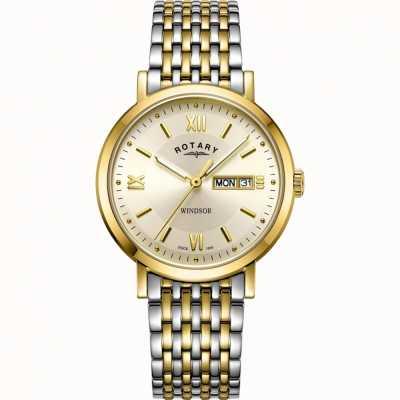 Rotary Relógio de homem windsor | pulseira de aço inoxidável bicolor | GB05301/09