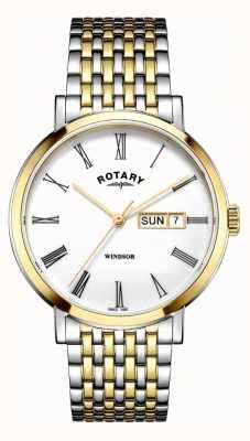 Rotary Mens windsor prata de dois tons e relógio de ouro GB05302/01