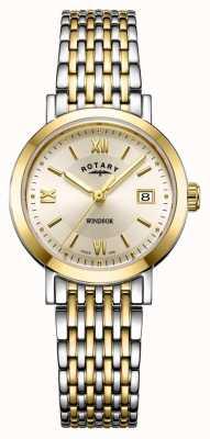 Rotary Womens windsor dois tons de ouro e prata pulseira de relógio LB05301/09