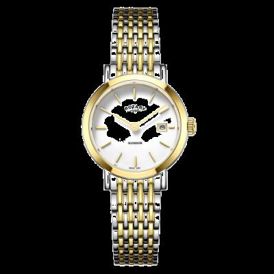 Rotary Womens windsor dois tons de ouro e prata pulseira de relógio LB05302/01