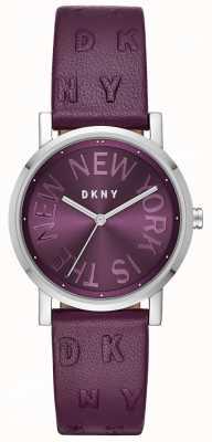 DKNY Womens soho roxo couro roxo mostrador do relógio NY2762