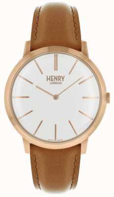 Henry London Dial branco icônico couro tan cinta rosa caso tom HL40-S-0240