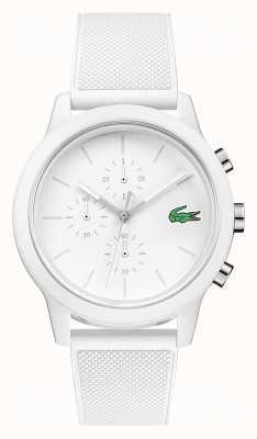 Lacoste 12.12 pulseira de silicone com cronógrafo branco 2010974