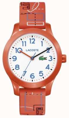 Lacoste 12.12 crianças laranja pulseira mostrador branco 2030010
