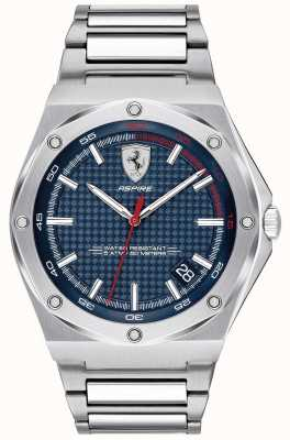 Scuderia Ferrari Mens aspirar exibição de data de discagem de aço inoxidável azul 0830530