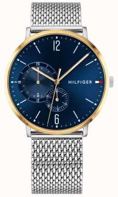 Tommy Hilfiger Caso banhado a ouro com mostrador azul de aço inoxidável milanês para homem 1791505