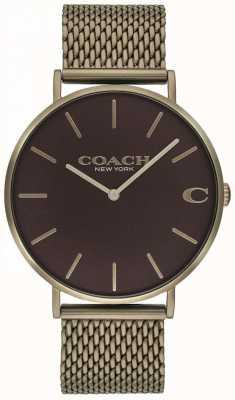 Coach Mens charles bronze pulseira de malha 14602147
