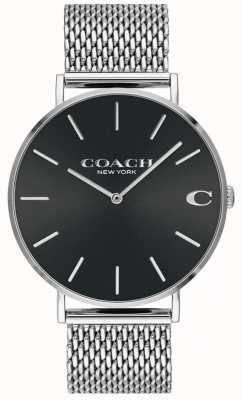 Coach Mens charles pulseira de malha de prata relógio preto 14602144