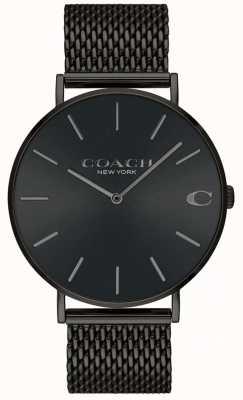 Coach Mens charles malha preta pulseira mostrador preto relógio 14602148