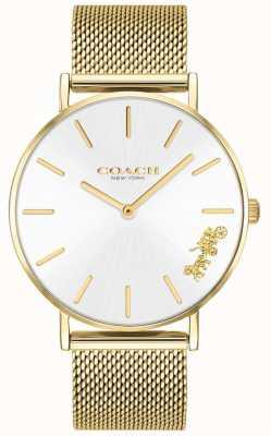 Coach Womens perry ouro pulseira de malha relógio 14503125