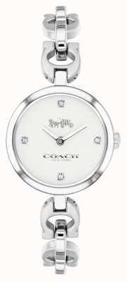 Coach Relógio de aço inoxidável com corrente de assinatura feminina 14503077