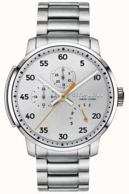 Coach Mens bleecker multifuncional relógio de prata 14602358