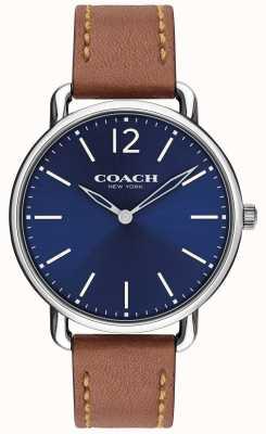 Coach Mens delancey relógio fino mostrador azul pulseira de couro marrom 14602345