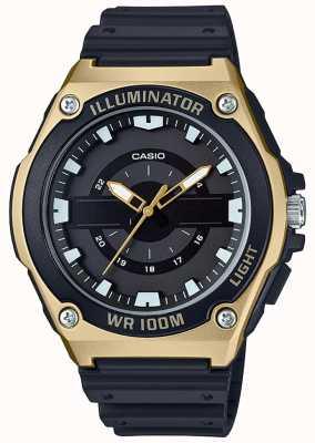 Casio Mens preto e ouro resina relógio iluminador MWC-100H-9AVEF