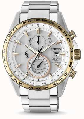 Citizen Mens rádio controlados eco-drive mundo temporizador titânio AT8156-87A