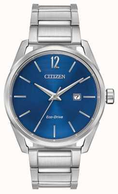 Citizen Mostrador de data de discagem de aço inoxidável de eco-drive masculino azul BM7410-51L