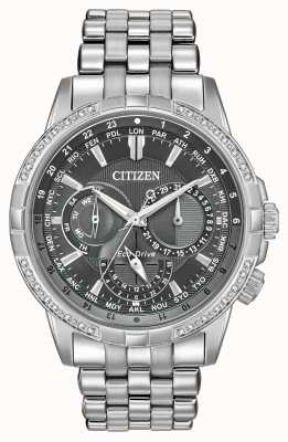 Citizen Eco-drive calendrier aço inoxidável 32 diamantes mostrador cinza BU2080-51H
