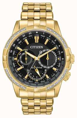 Citizen Mens calendrier eco-drive banhado a ouro 32 diamantes BU2082-56E