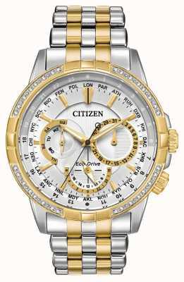 Citizen Mens calendrier eco-drive dois tons de 32 diamantes mostrador prateado BU2084-51A