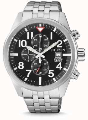 Citizen Cronógrafo de aço inoxidável de quartzo Mens 100m resistente à água AN3620-51E
