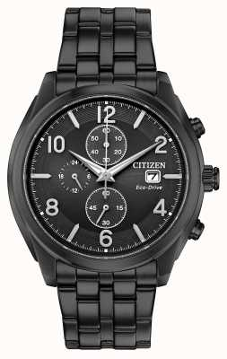 Citizen Mens eco-drive preto pvd banhado data display wr100 CA0675-57E