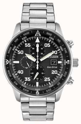Citizen Mens aviador eco-drive preto mostrador crono em aço inoxidável 100m CA0690-53E