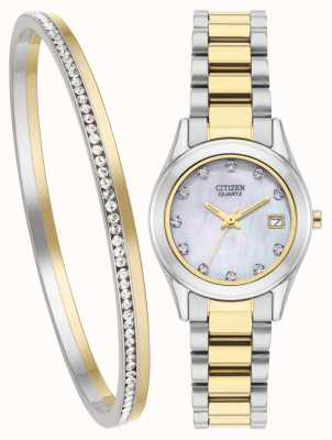Citizen Womens quartz mãe de pérola relógio e pulseira conjunto EU2664-59D-SETR
