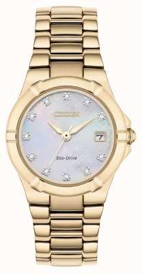 Citizen Dial de diamante eco-drive das mulheres rosa banhado a ouro EW1533-50D