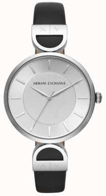 Armani Exchange Mostrador preto cinta de couro preto das mulheres de Brooke AX5323