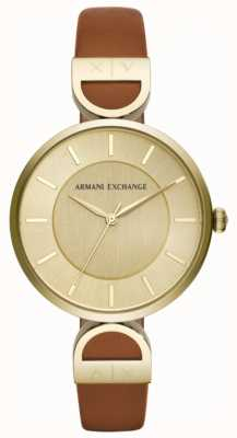 Armani Exchange Bracelete de couro marrom para mulher Brooke AX5324