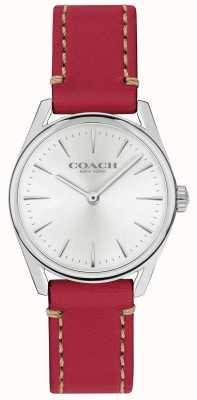 Coach Relógio de pulseira de couro vermelho luxo moderno das mulheres 14503205