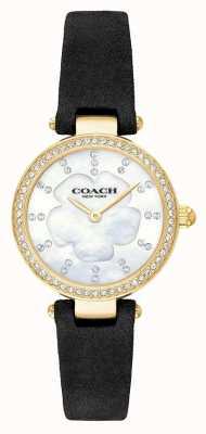 Coach Womens luxo moderno pulseira de couro preto mãe de pérola 14503103