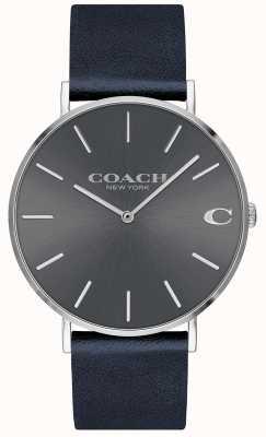 Coach Mens charles da marinha pulseira cinza mostrador do relógio 14602150
