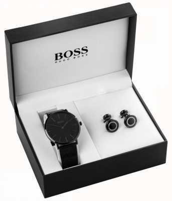 Hugo Boss Mens preto ion banhado relógio e abotoaduras conjunto 1570067
