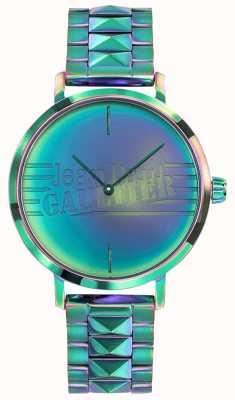 Jean Paul Gaultier Relógio de metal de efeito de arco-íris verde de menina ruim das mulheres JP8505705