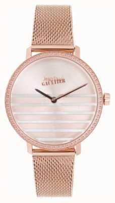 Jean Paul Gaultier Glam navy womens rosa ouro tom malha pulseira relógio JP8505601