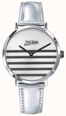 Jean Paul Gaultier Glam navy womens prata couro pulseira de relógio JP8505607