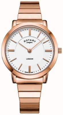 Rotary Womens london rose aço ouro pulseira de expansão assistir LB00767/02