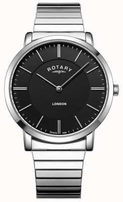 Rotary Mens pulseira de aço inoxidável de expansão em londres GB02765/04