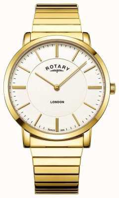 Rotary Relógio masculino com pulseira de aço inoxidável em ouro londrino GB02766/03