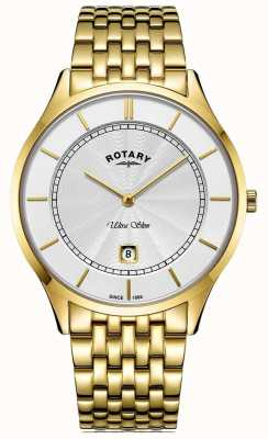 Rotary Mens ultra fino banhado a ouro pulseira GB08413/02
