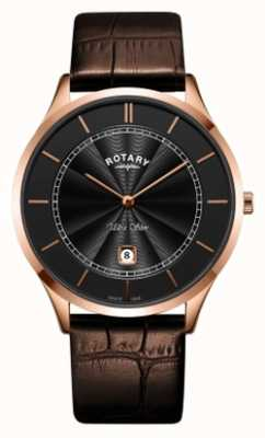 Rotary Mens ultra slim rosa pulseira de couro marrom ouro GS08404/04