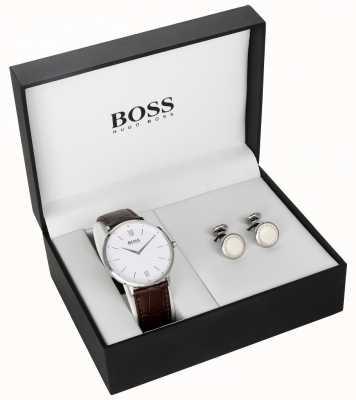 Hugo Boss Mens marrom couro branco mostrador de abotoaduras conjunto de presente 1570069